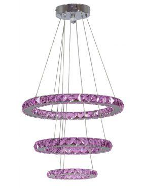 LAMPA SUFITOWA WISZĄCA CANDELLUX LORDS 33-63090  OKRĄGŁY POTRÓJNY 48W LED RGB CHROM Z PILOTEM
