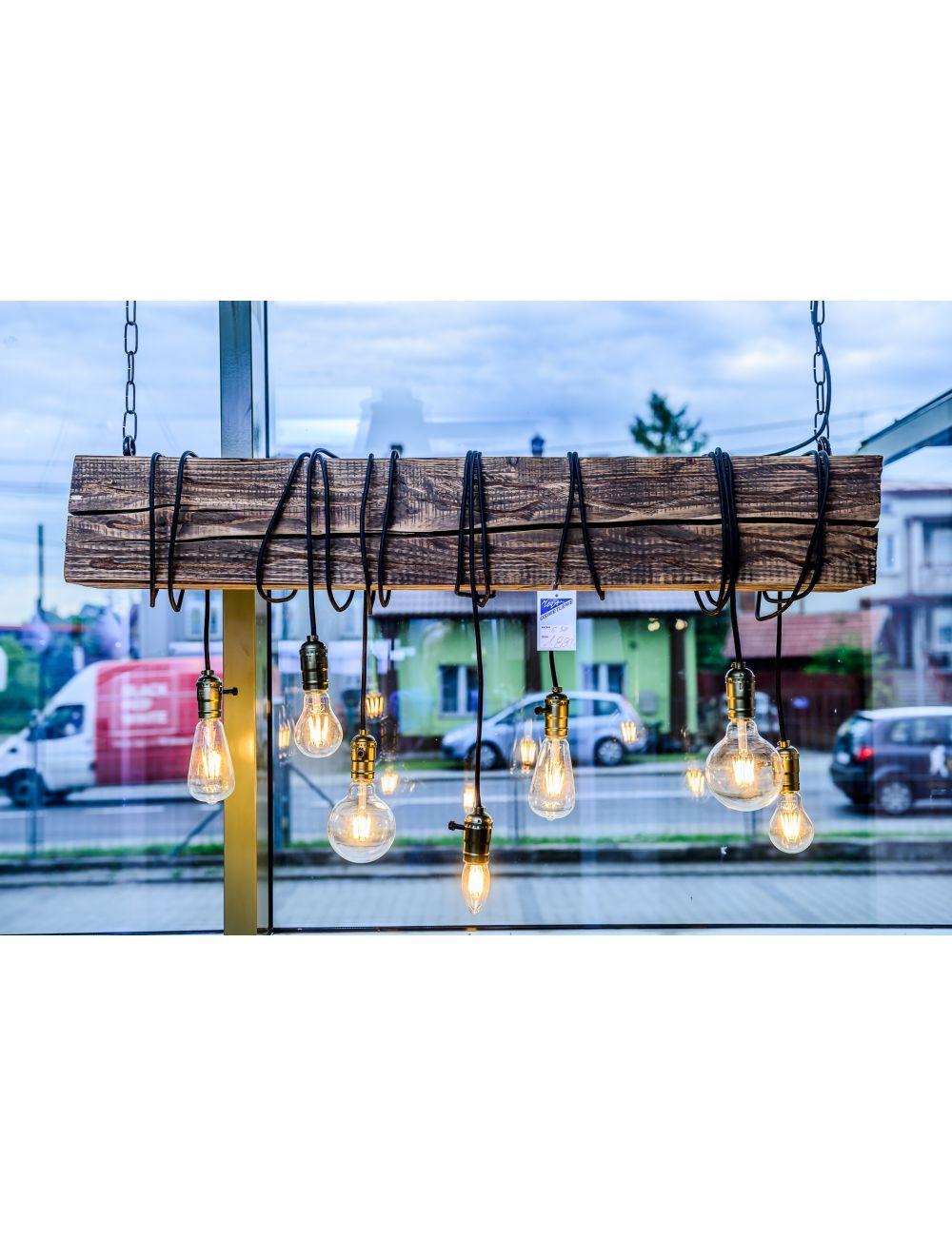 Lampa drewniana belka LED