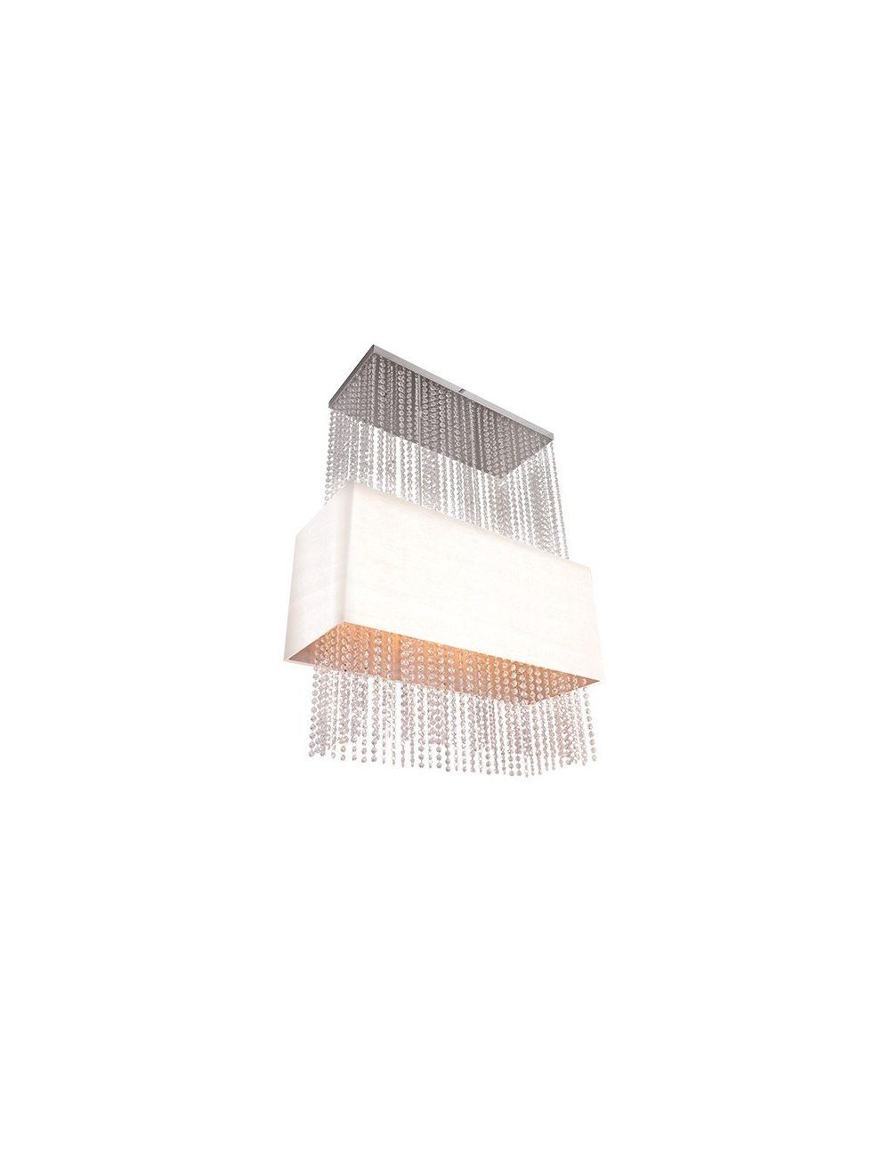 Lampa wisząca Glamour prostokąt biała