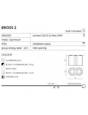 Lampa tuba nadtynkowa Bross 2 czarna