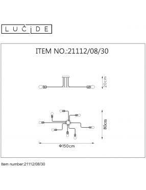 21112/08/30 Lester lampa loftowa plafon 8pl Lucide