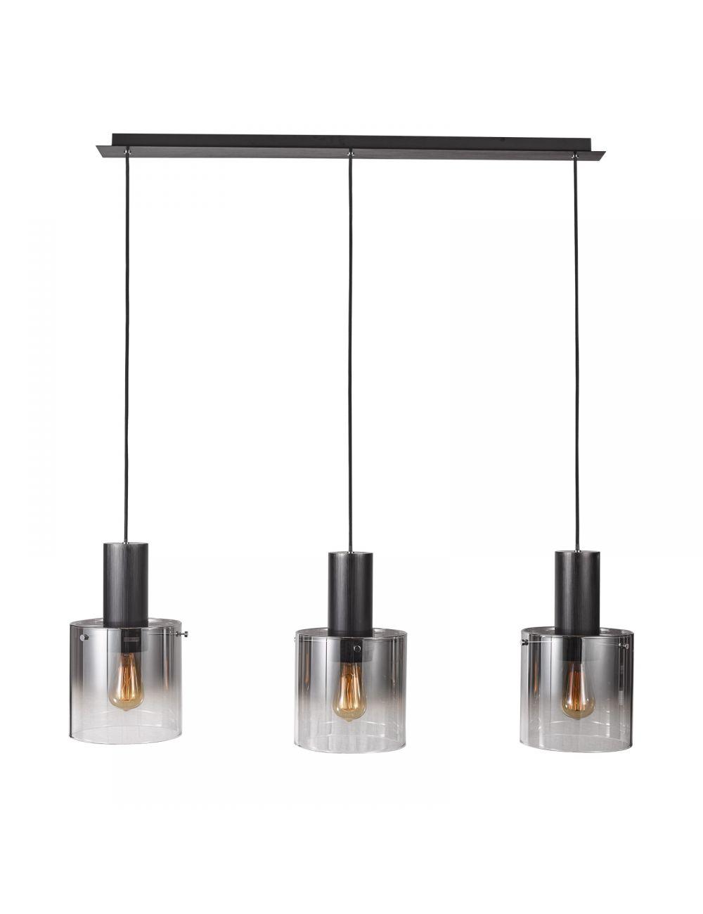 Lampa wisząca nowoczesna szklana Javier czarna 3 Italux MD17076-3B BK