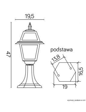 Lampa ogrodowa stojąca Witraż 47 cm  SU-MA K 4011/1/N