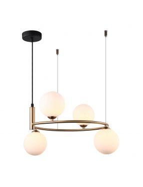 Amily lampa wisząca metalowa z kloszami 4 złota Italux MDM-3974/4 BRO