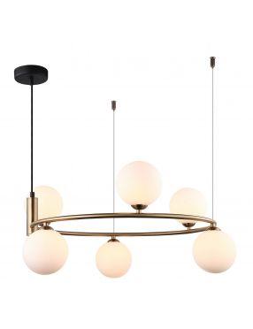 Amily lampa wisząca metalowa z kloszami 4 złota Italux MDM-3974/6 BRO