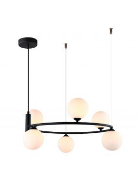 Amily lampa wisząca metalowa z kloszami 6 czarna Italux MDM-3974/6 BK