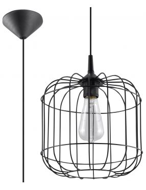 Lampa wisząca loftowa druciana czarna Celta  Sollux SL.0296