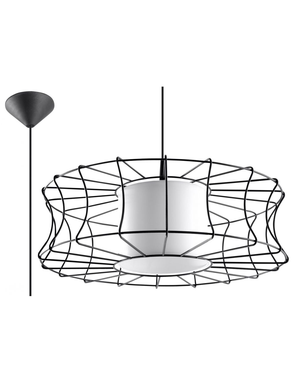 Lampa wisząca loftowa druciana czarna Salerno  Sollux SL.0300