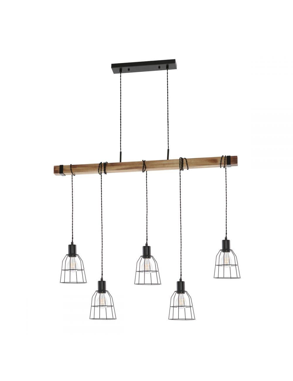 Lampa wisząca belka drewniana loft industrialna Ponte Italux PND-4290-5-L