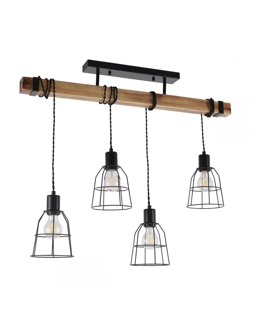 Lampa wisząca belka drewniana loft industrialna Ponte Italux PPND-4290-4-L