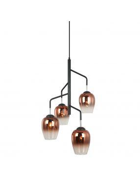 Lampa wisząca szklana miedziana loftowa Lesla Italux PEN-5359-4-BKCOP