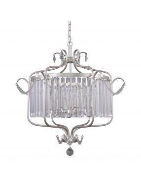 Lampa wisząca kryształowa żyrandol srebrny Rinaldo Italux PND-33057-6-CH.S