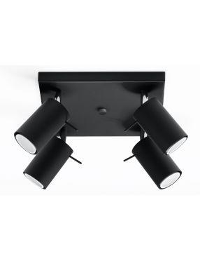 Plafon sufitowy ruchomy reflektorek czarny 4 Ring Sollux SL0094