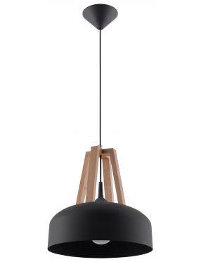 Lampa wisząca pojedyncza czarna metal + drewno loft Casco Sollux SL.0390