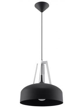 Lampa wisząca pojedyncza czarna metal + drewno loft Casco Sollux SL.0389