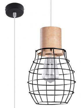 Lampa wisząca pojedyncza drewno + metal loft Rida Sollux  SL.0286
