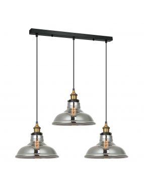 Lampa wisząca potrójna szklana loftowa Hubert Italux MDM-2381/3 GD+SG