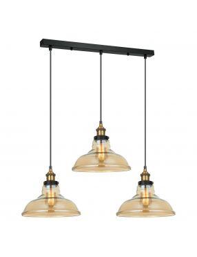 Lampa wisząca potrójna szklana loftowa Hubert Italux MDM-2381/3 GD+AMB