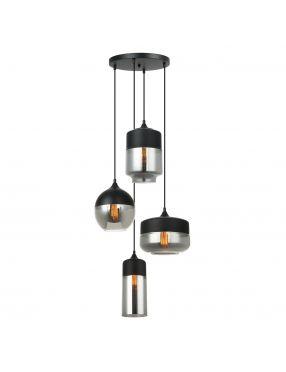 Lampa wisząca nowoczesna kaskada szklana Molina Italux MDM-4364/4 BK+SG