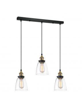 Lampa wisząca potrójna szklana loftowa Francis Italux MDM-2563/3 GD+CL