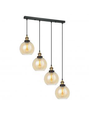 Lampa wisząca szklana loftowa Italux Cardena 4 Italux MDM-4330/4 GD+AM