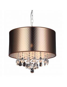 Lampa wisząca abażurowa  z kryształkami Glamour Motan brązowa Italux MDM2047/3