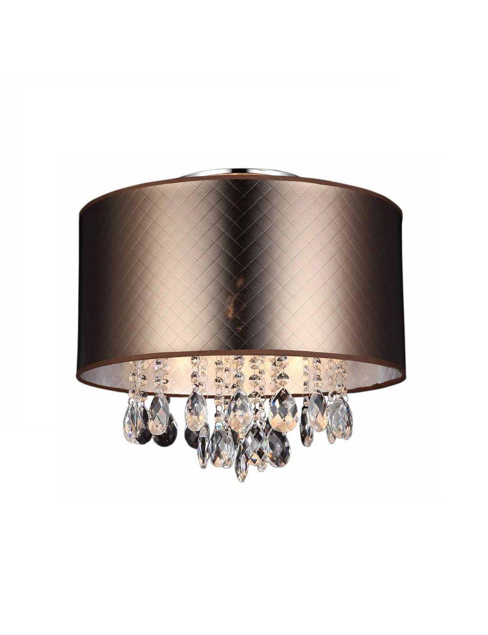 Plafon sufitowy abażurowy  z kryształkami Glamour Motan brązowy Italux MXM2047/3