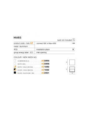 Kinkiet kwadratowy metalowy kostka MARS czarny Azzardo AZ2931
