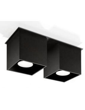 Lampa plafon sufitowy prostokatny metalowy kostka czarna Quad Sollux SL.0063