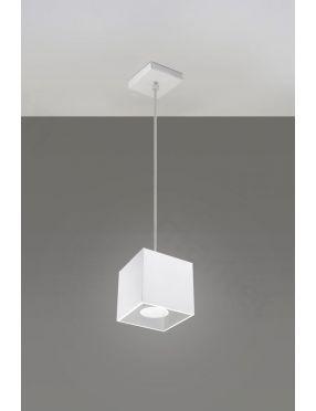 Lampa wisząca pojedyncza metalowa kostka biała Quad Sollux SL.0062
