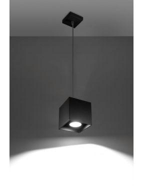 Lampa wisząca pojedyncza metalowa kostka czarna Quad Sollux SL.0060