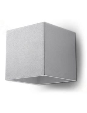 Kinkiet ścienny metalowy kostka kwadratowy szary Quad Sollux SL.0058
