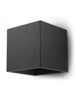 Kinkiet ścienny metalowy kostka kwadratowy czarny Quad Sollux SL.0057