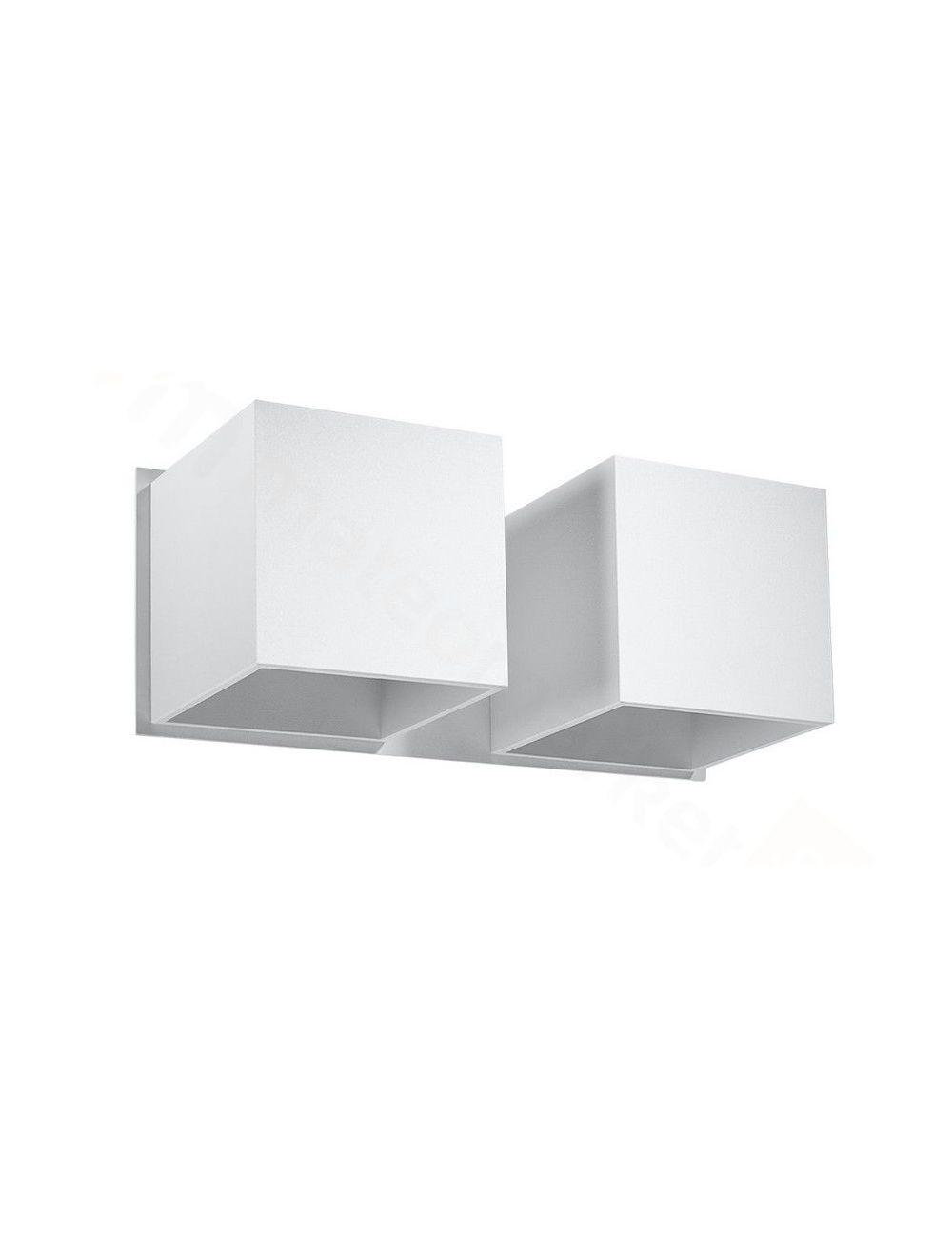 Kinkiet ścienny metalowy podwójny biały Quad Sollux SL.0656