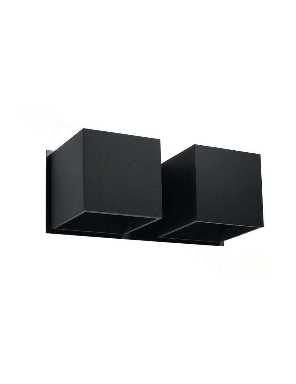 Kinkiet ścienny metalowy podwójny czarny Quad Sollux SL.0657