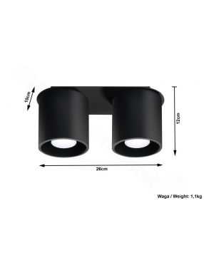 Lampa plafon sufitowy podwójny metalowy owal czarny Orbis Sollux SL.0054
