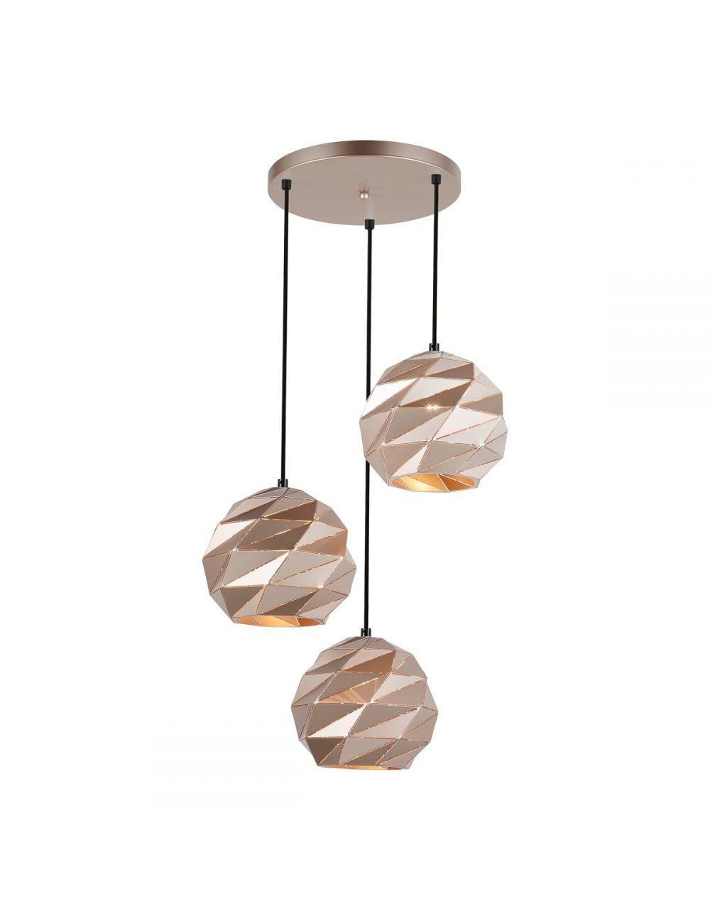 Lampa wisząca potrójna metalowa złota kula geometryczna Palermo PND-2424-3S-GD