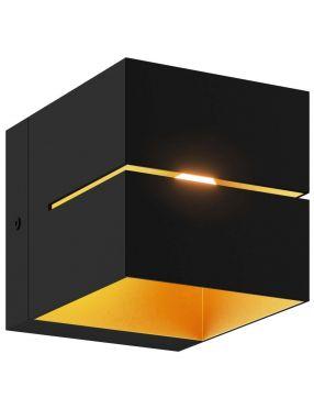 Kinkiet ścienny metalowy kostka czarno złoty Transfer Zumaline 91067