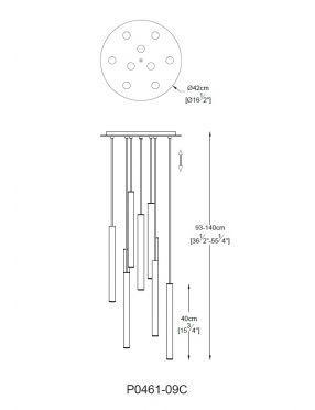 Lampa wisząca nowoczesna ledowa tuby rurki  kaskada  Loya P0461-09C-B5SC