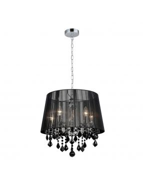 Lampa wisząca abażurowa z kryształkami Cornelia 5 czarna Italux MDM-2572/5 BK